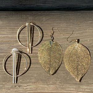 Jewelry - Gold and black earring bundle